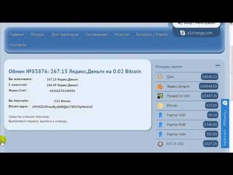 A1CHANGE  -  обмен Яндекс деньги на Биткоин