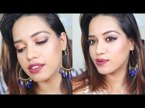 Bronzey Smokey Eye & Dark Lips Makeup Tutorial