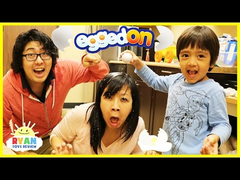 Thumbnail: EGGED ON Egg Roulette challenge extreme gross and messy food with Eggs Surprise Hunt Family Fun Game