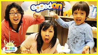EGGED ON Egg Roulette challenge extreme gross and messy food with Eggs Surprise Hunt Family Fun Game