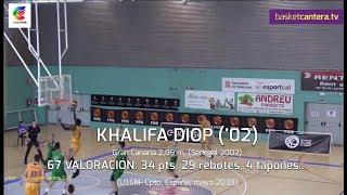 KHALIFA DIOP.  Gran Canaria 2,09 m. (Senegal 2002). MVP:  67 Valoración, 34 puntos, 29 rebotes...