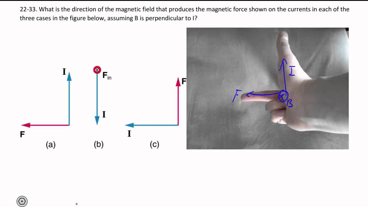 22-33. Right hand rule of magnetic force on a current carrying wire ...