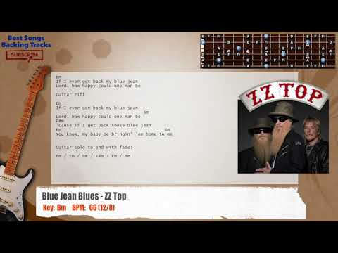 Blue Jean Blues - ZZ Top Guitar Backing Track with chords and lyrics