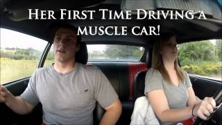 Cute Girl First Time Driving 500hp Muscle car!!
