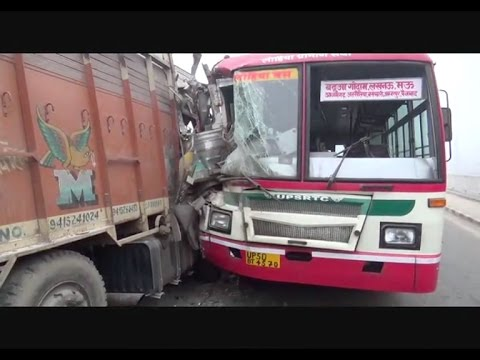 Roadways bus and truck met with an accident in Mau due to dense fog!