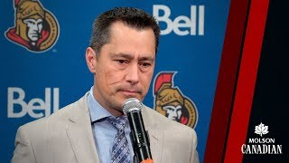 Head Coach Guy Boucher speaks with the media prior to today's matin...