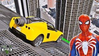 SUPER CARROS na Mega Rampa com Homem Aranha e Heróis! Saltos na Cidade - GTA V Mods - IR GAMES