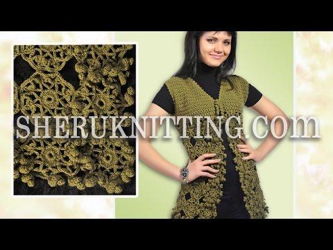 Crochet Sleeveless Motif Cardigan Model 21 Youtube