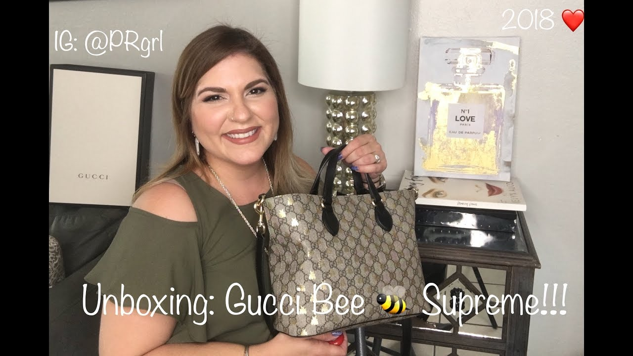 e08ad1c56 Gucci Supreme Bees Tote Unboxing: English Version 2018 - YouTube