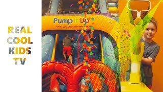 PUMP IT UP PARTY TIME - SLIDES, GLOW BOUNCE, AND SHOOTING BALLS - GREAT VIDEO FOR KIDS & FAMILIES