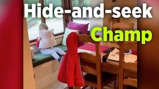 Toddler is adorable hide-and-seek player