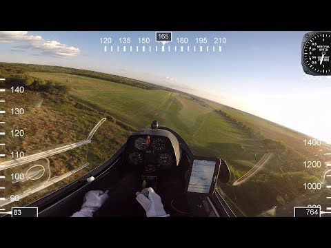 Flying glider sailplane landing the PW-5 glider with real-time flight data Roy Dawson video