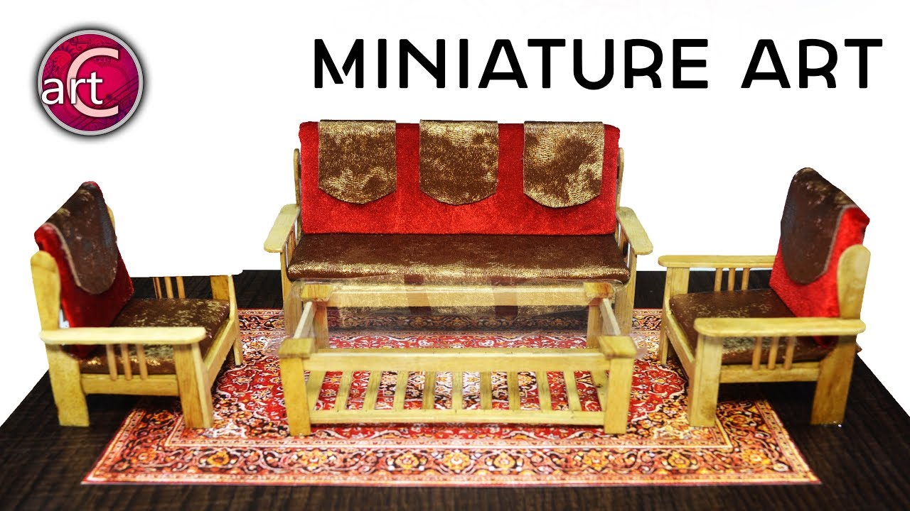MAKE:miniature wooden sofa /couch | doll house decoration | popsicle stick  | Art with Creativity 273