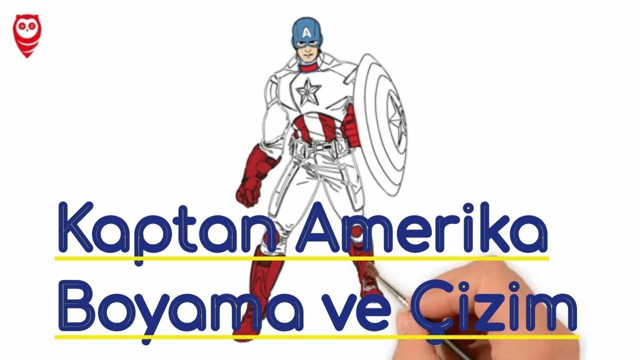 Kaptan Amerika Ve Kalkan Boyama Eğlenceli Ve çizim Sayfası çocuklar