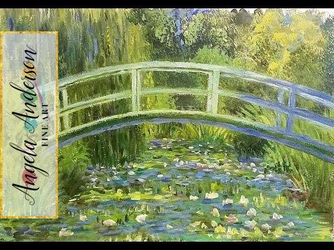 Acrylic Painting Tutorial (Part 2) Monet Inspired Waterlilies Bridge  Impressionist Art