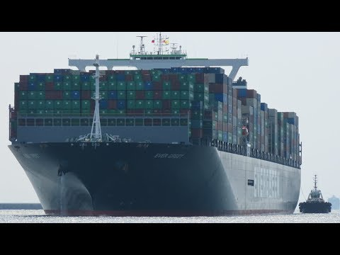 """World's Longest Container Ship, Evergreen 20,000+ TEU Class """"Ever Greet"""" Into Kaohsiung Harbor"""