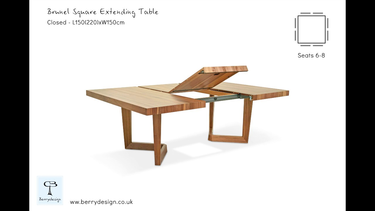 48f018291d86 Brunel Square extending dining table in solid oak or solid walnut