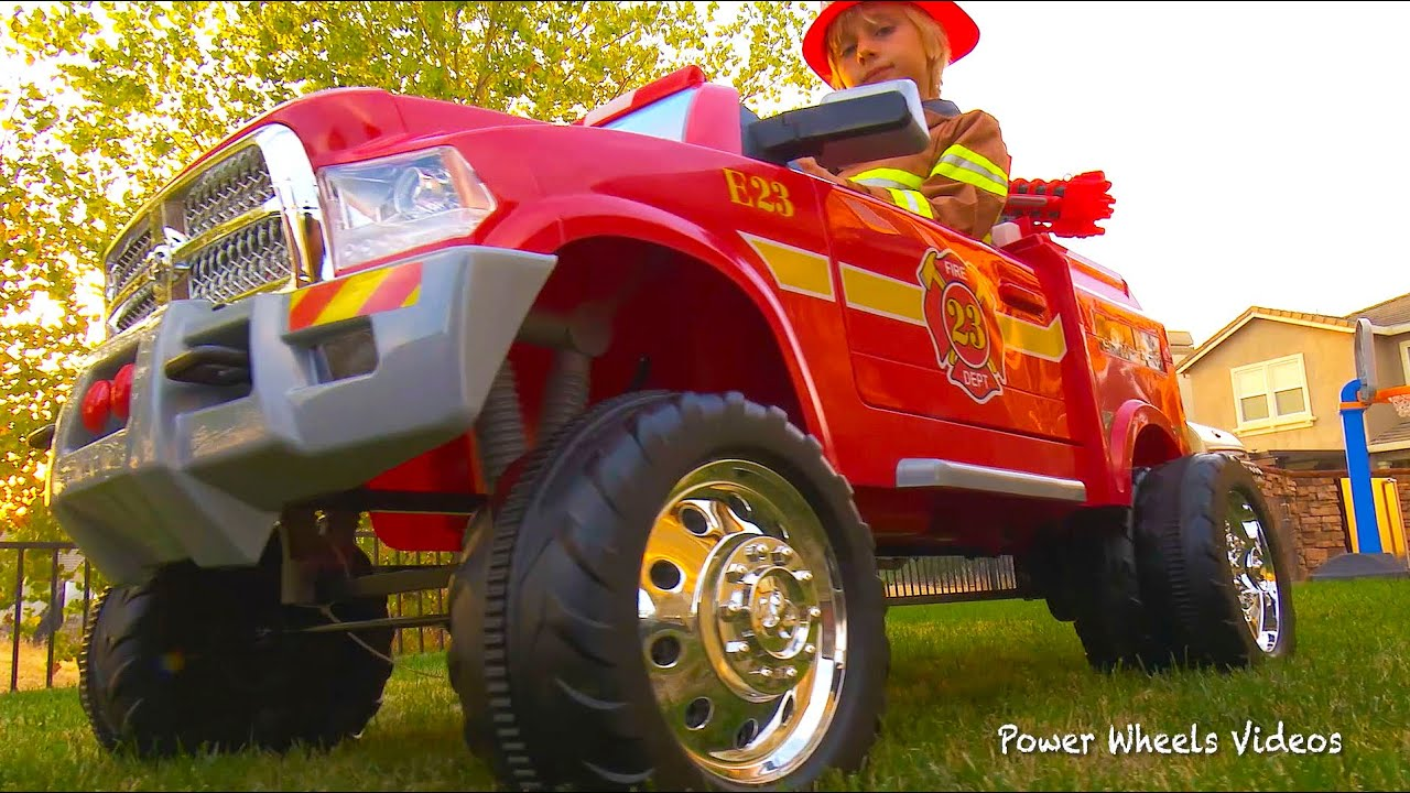 Children's Fire Truck - Avigo Dodge Ram 3500 Ride On - Unboxing, Assembly, Riding! - YouTube
