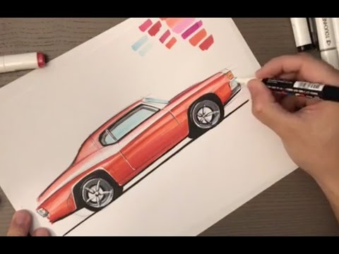 How To Sketch A Muscle Car With Markers Youtube