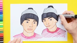 How to draw and color the Dobre Brothers - Lucas and Marcus