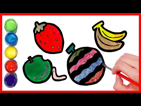 glitter fruits coloring pages for kids   l  Drawing & Learn Colors for kids