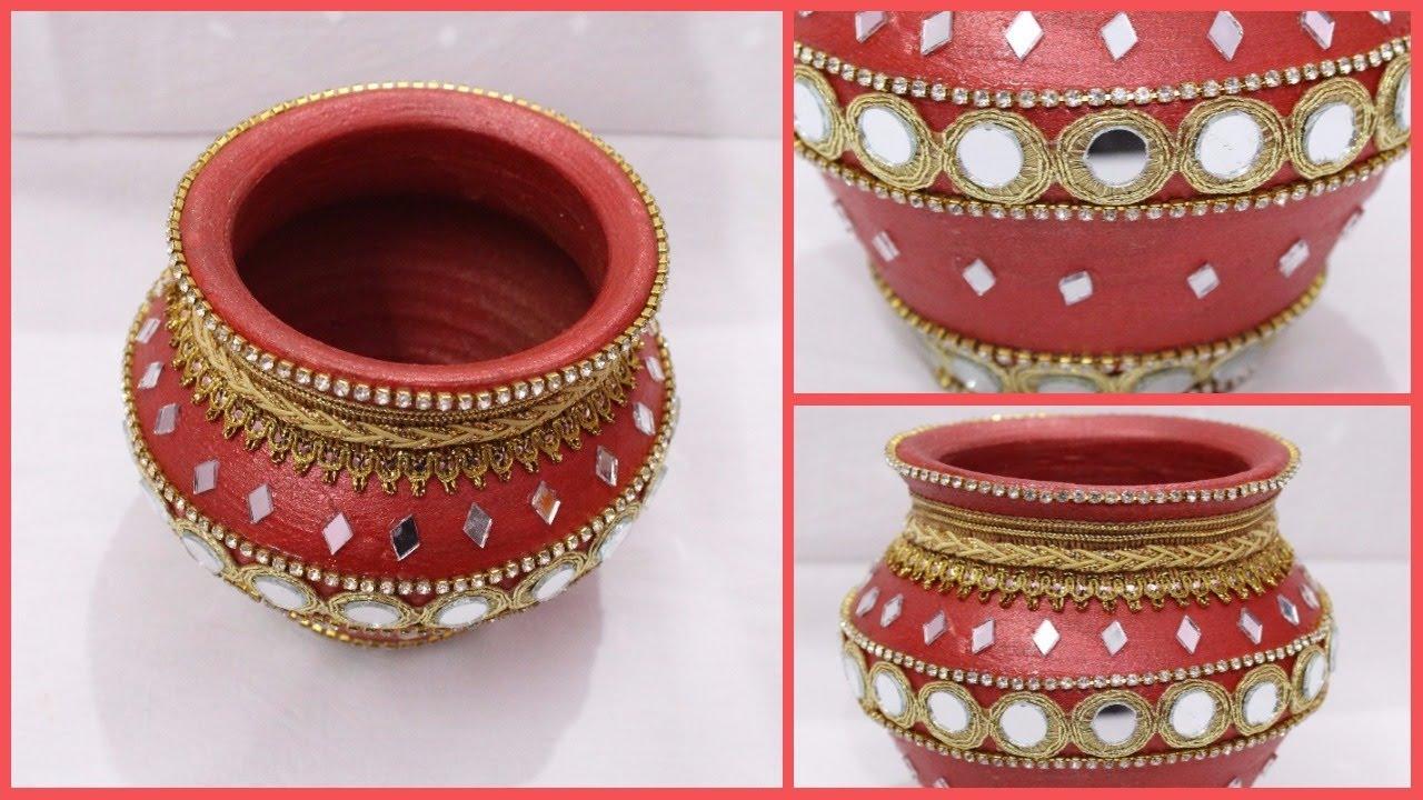 How to Decorate Pot at home I Matki decoration I Indian
