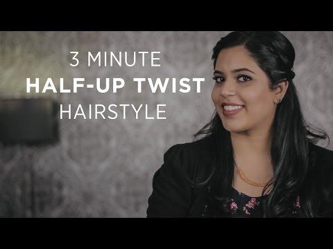 quick 3 minute halfup twist hairstyle for short medium