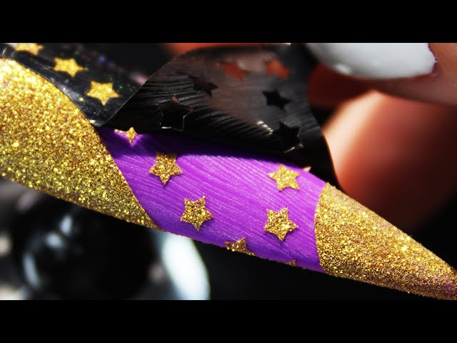How To Create Purple Gold Glitter Stars With Reusable Stencil Nail Art Design