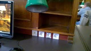 Российская государственная библиотека без работающих светильников для работы за столом