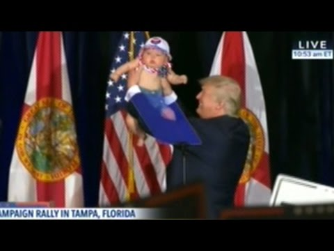 """""""Look! A Future Construction Worker!"""" Donald Trump Brings Baby On Stage To Kiss At Rally In Florida"""