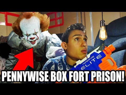 24 HOUR BOX FORT PENNYWISE PRISON ESCAPE!! (*CREEPY CLOWN NERF WAR*!)