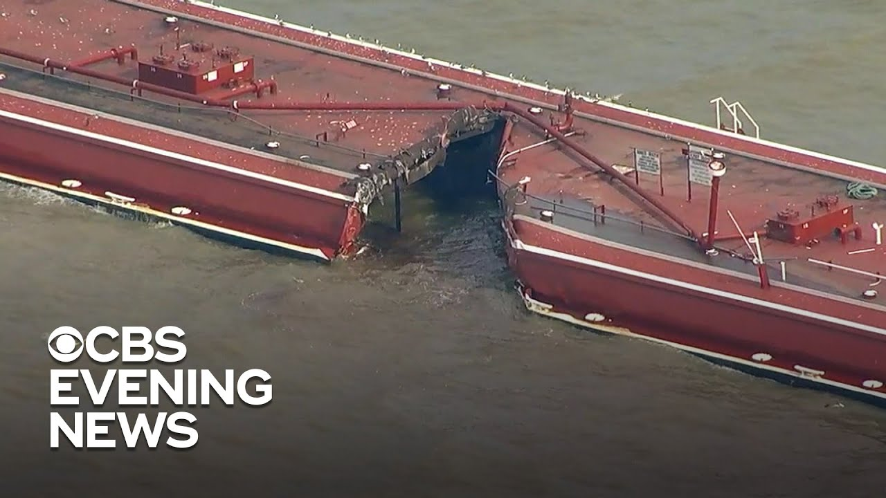 Download Two barges and oil tanker collide in shipping channel near Houston
