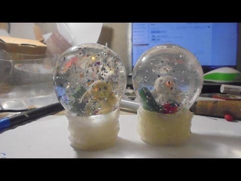 Как сделать снежный шар из лампочки/How to make a snow ball of light bulbs