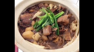 在家做羊腩煲- Lamb Stew 材料: 羊腩2磅半薑片大量乾蔥頭8粒枝竹4支馬蹄...