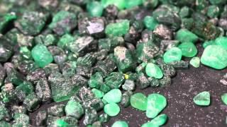 Faceting Loose Rough Colombian Emerald Gemstones