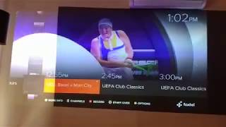 UST Laser projector Xiaomi Mi on half white /beige wall and half on gray paint wall mix