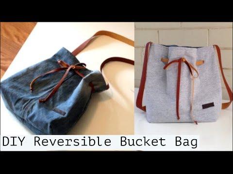 DIY BAG Ideas/REVERSIBLE Bucket BAG/Coudre un sac sean/Bolsa diy/bolsa de bricolaje/巾着バッグ 作り方กระเป๋า