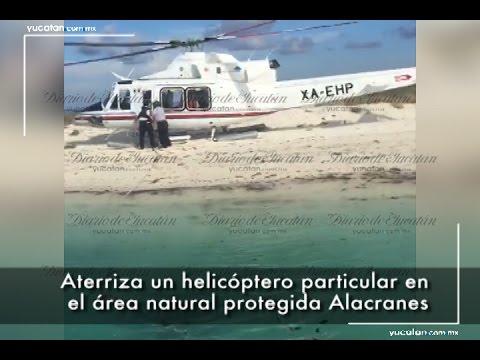 Aterriza helicóptero en el área protegida de Arrecife Alacranes