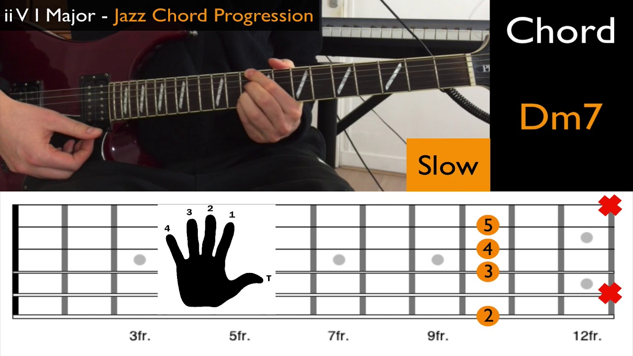 Easy Jazz Guitar Chord Progression Major Ii V I Tutorial Youtube