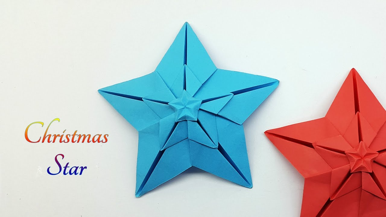 Christmas Origami.Paper Star Making For Christmas Decoration Christmas Origami Star
