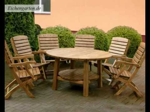 Runde Holz Gartenmöbel Set - YouTube