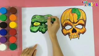How to draw a halloween mask 2 | Painting for kids | Art for kids