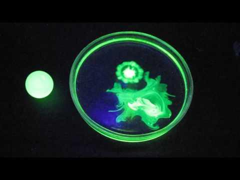Uranium glass, uranyl nitrate, fluorescein and black light lamp (ultraviolet light)