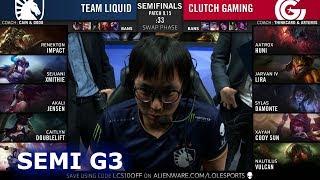 TL vs CG - Game 3 | Semi Finals S9 LCS Summer 2019 | Team Liquid vs Clutch Gaming G3