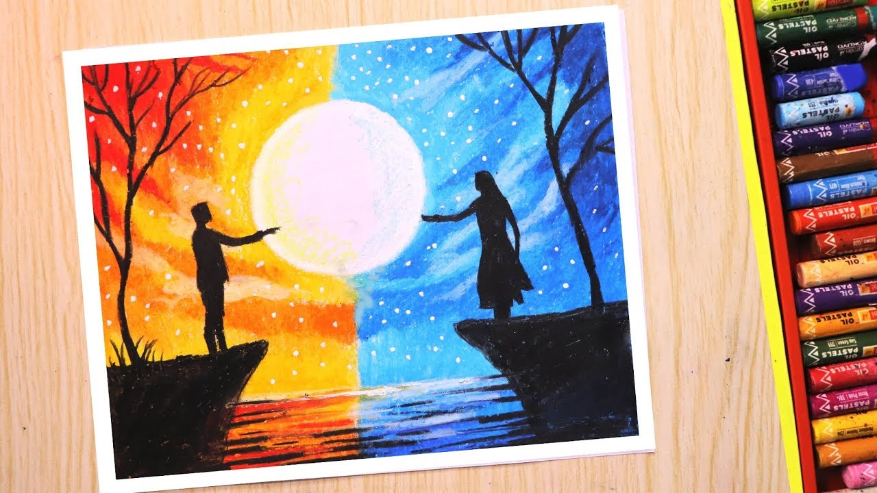 Oil pastel drawing for beginners | Love and Separation ...