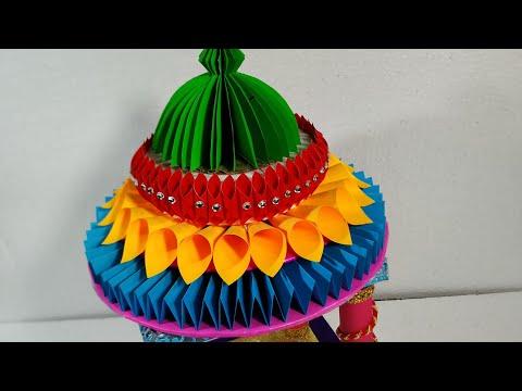 Ganesh decoration ideas at home//DIY Ganpati makhar using craft paper