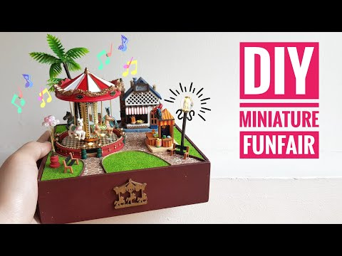 DIY Miniature Funfair Music Box with Lights (Carousel Happy Garden)