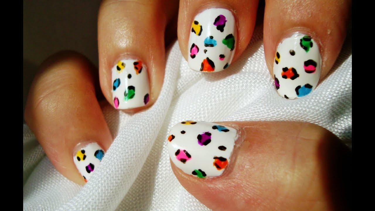 Diseño uñas leopardo neon blanco / Neon white leopard nail design ...
