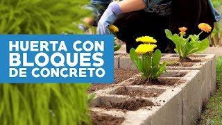¿Cómo hacer una huerta con bloques de concretos en el jardín?