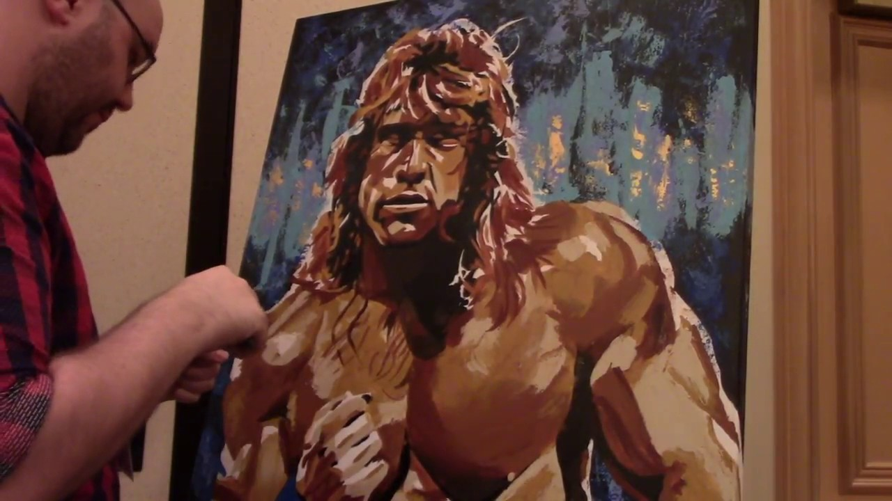 Rob Schamberger paints the legendary Kerry Von Erich  WWE Canvas 2 Canvas